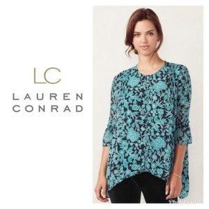 LC Lauren Conrad Blouse Green Shark Bite Sz S NWT
